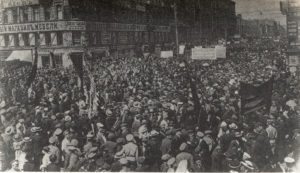 Anti-war demonstration assembling in Petrograd on 4 July 1917. Actions such as this revolt against the horror or war should be at the centre of our understanding of 1917.