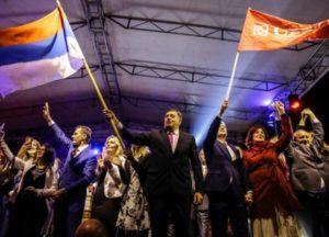 President of Republika Srpska Milorad Dodik celebrates the referendum outcome on Sunday. Photo: Anadolu.