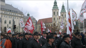 Jobbik members demonstrating together with far-right Polish allies. Source: Budapest Sentinel.