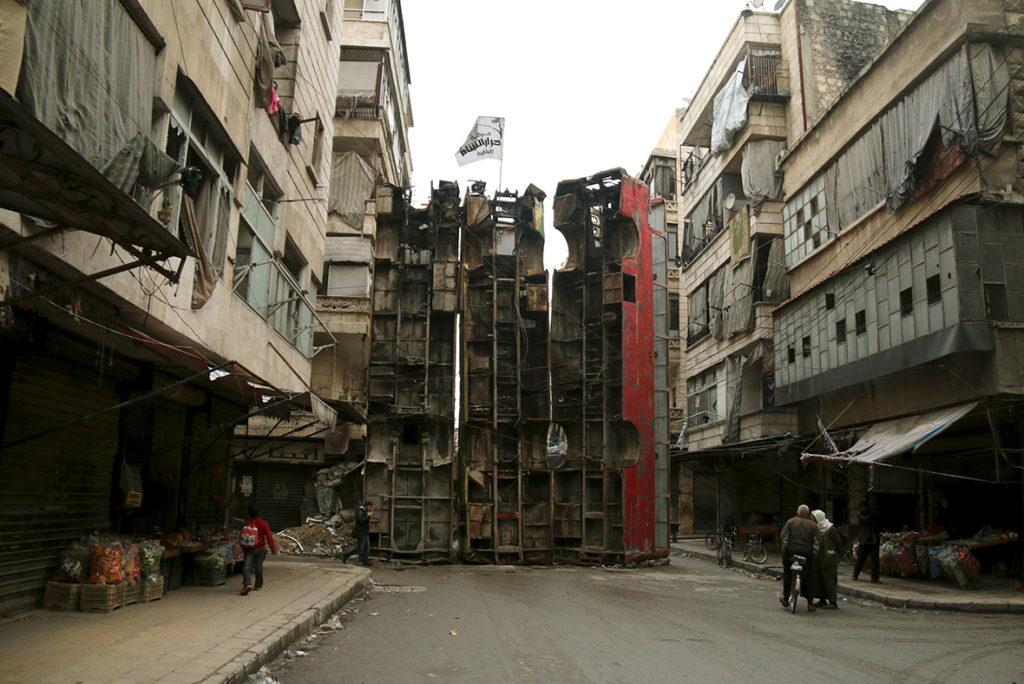 A barricade in Aleppo: Reuters.