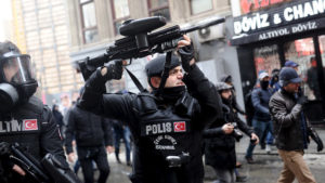 Turkish riot police use rubber pellets to disperse pro-Kurdish demonstrators during a protest against security operations in the Kurdish dominated southeast, in central Istanbul, Turkey January 3, 2016. REUTERS/Yagiz Karahan
