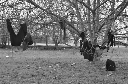 Black and white image of clothes hanging from a tree in an open, grassy, field. The clothes are placed there to dry after a cold, rainy night. Photo by Dreptul la Oraș