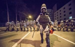 Riot police on the streets of Podgorcia. Photo credit: Anadolija