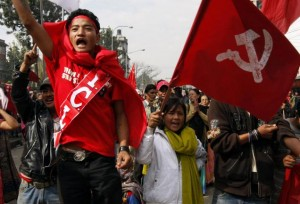Supporters of former rebel Communist Party of Nepal (Maoist) shout slogans during a protest rally in Kathmandu. Source: The Hindu