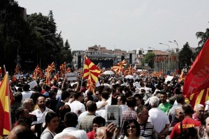 Anti-government demonstration outside the prime minister's office by thousands supporters of the main opposition SDSM party, demanding the resignation of Prime Minister Nikola Gruevski, in FYROM capital Skopje on May 17, 2015. SOOC / Konstantinos Tsakalidis